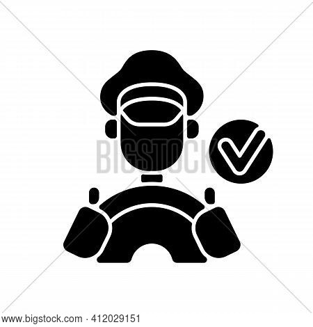 Verified Drivers Black Glyph Icon. Drivers With A License. Travel Insurance. Check Taxi Service Pers