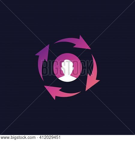 Returning Customer Icon. Client Retention Concept. Attract Clients, Customer Support And Service. Ve