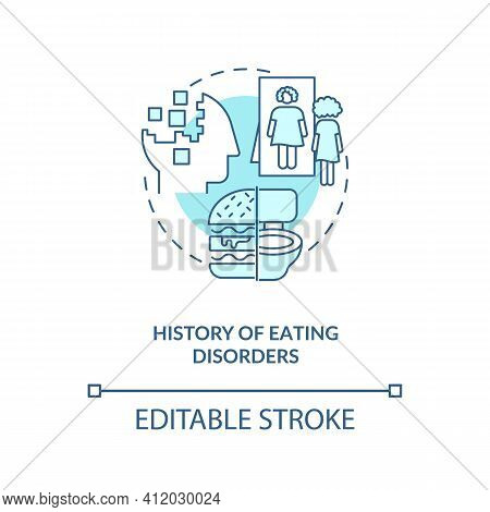 History Of Eating Disorders Blue Concept Icon. Anorexia And Bulimia. Intermittent Fasting Precaution