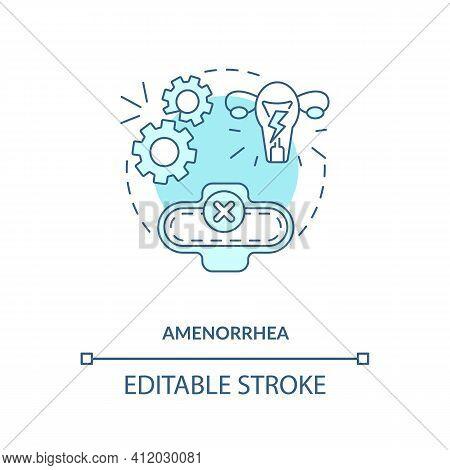 Amenorrhea Blue Concept Icon. Menstruation Problem. Gynecological Issue. Intermittent Fasting Precau