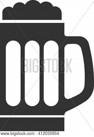 Vector Icon Of A Beer Mug With Foam.