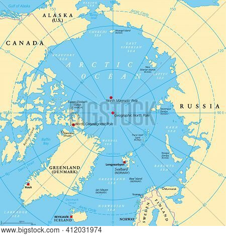 Geographic Position Of The North Pole Of The Earth, Political Map. Magnetic, Geomagnetic And Geograp