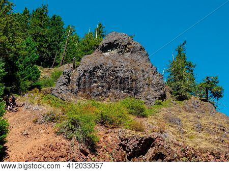 Hillside Stone - A Rock Formation Along Straight Creek Road - Cascade Range - Near Marion Forks, Or