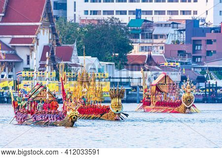 Bangkok, Thailand - December 12, 2019: Traditional Grand Royal Barge Procession In Occasion Of The R
