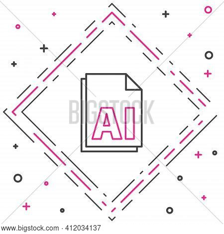 Line Ai File Document. Download Ai Button Icon Isolated On White Background. Ai File Symbol. Colorfu