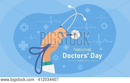 National Doctor's Day With Doctor Hand Holding Stethoscope On Blue Heart Wave And Plus Cross Sign Te