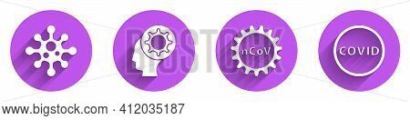 Set Virus, Human And Virus, Corona Virus 2019-ncov And Corona Virus Covid-19 Icon With Long Shadow.