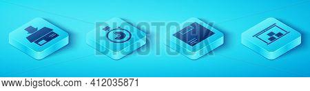 Set Isometric Carton Cardboard Box, Stopwatch, Warehouse And Carton Cardboard Box Icon. Vector