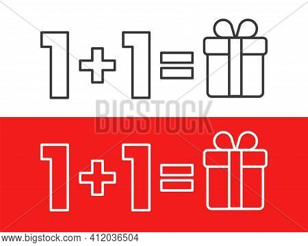 One Plus One Equals Three, Get One Free As A Gift, Sale Promotion, Linear On Red Backdrop