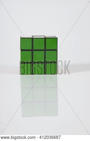 São Paulo Brazil. October 3, 2011: Magic Cube Isolated On Infinite White Background, With The Correc