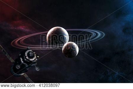Beautiful Cosmic Landscape. Planets In Deep Space. Space Station Blurred In Motion. Space Station Bl