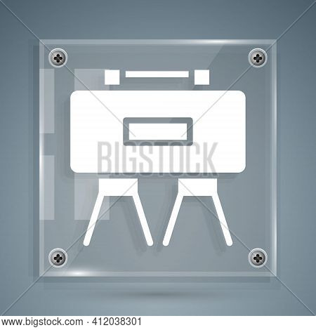 White Military Mine Icon Isolated On Grey Background. Claymore Mine Explosive Device. Anti Personnel