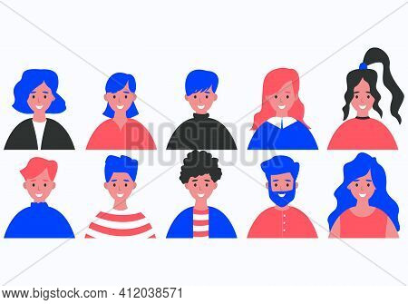 Portraits Of Men And Women. A Set Of Avatars Of Various People. Flat Vector Cartoon Illustration.