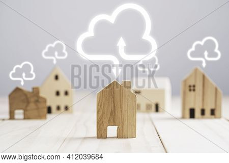 Wooden House Model With Virtual Cloud  Computing , Upload And Download Information Data Application