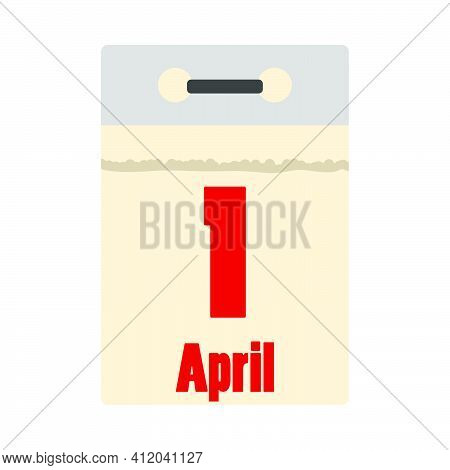 April Fool's Day Icon. Calendar With 1 April Date. Flat Color Design. Vector Illustration.