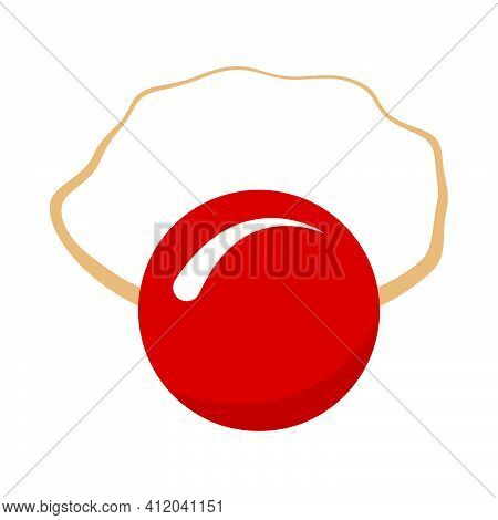 April Fool's Day Icon. Clown Nose Mask. Flat Color Design. Vector Illustration.