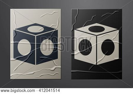 White Billiard Chalk Icon Isolated On Crumpled Paper Background. Chalk Block For Billiard Cue. Paper