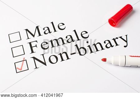 Non-binary Concept. Above Photo Of Red Color Marker And Paper With Text Male Female And Non-binary I