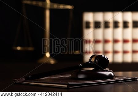 Court Gavel, Scale Of Justice, Law Theme. Law Lawyer Hammer Attorney Court Background Composition Ju