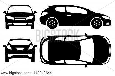 Hatchback Car Silhouette On White Background. Vehicle Icons Set View From Side, Front, Back, And Top