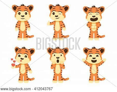 Set Cartoon Tiger Cubs. Vector Illustration Collection Of Cartoon Characters Cute Tiger Cubs Isolate
