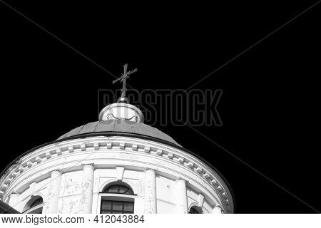 Domes Of An Orthodox Church Against The Sky. Black And White Image. Orthodox Baroque Architecture. A