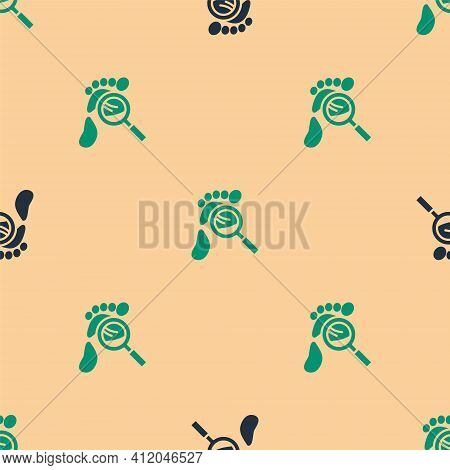 Green And Black Magnifying Glass With Footsteps Icon Isolated Seamless Pattern On Beige Background.