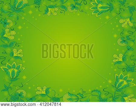 Greeting Card With Elements Of Plants And A Gradient In Green Hues