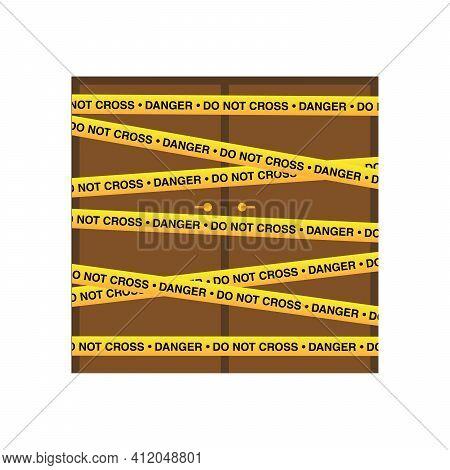 Police Tape On Door, Danger Line. Warning Tapes. Set Of Yellow Warning Ribbons. Vector Illustration