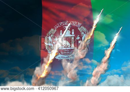 Afghanistan Ballistic Missile Launch - Modern Strategic Nuclear Rocket Weapons Concept On Blue Sky B