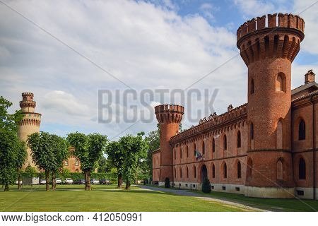 Pollenzo, Italy - June 12, 2020: Exterior View Of The Castle Of Pollenzo, Italy, On June 12 2020; Al