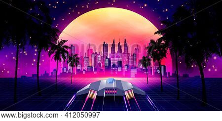 Arcade Space Ship Flying To The Sunset. Retro 80s Fashion Sci-fi Background Landscape. Digital Retro