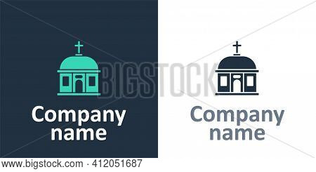 Logotype Santorini Building Icon Isolated On White Background. Traditional Greek White Houses With B
