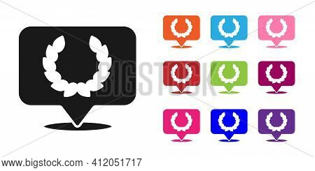 Black Laurel Wreath Icon Isolated On White Background. Triumph Symbol. Set Icons Colorful. Vector