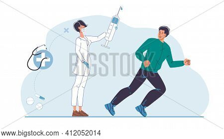 Cartoon Flat Male Character In Fear Of Vaccination.afraid Man In Panic, Scary Of Doctor With Syringe