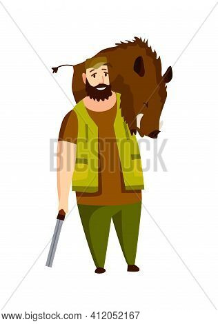 Hunter Character With Rifle And Booty On His Shoulders. Hunted Wild Boar. Man With A Gun In Camoufla