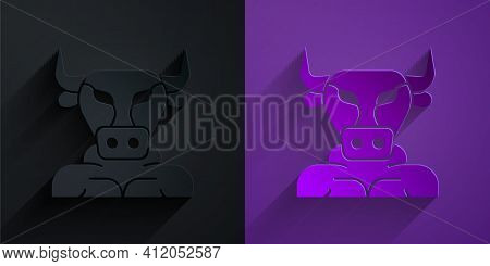 Paper Cut Minotaur Icon Isolated On Black On Purple Background. Mythical Greek Powerful Creature The