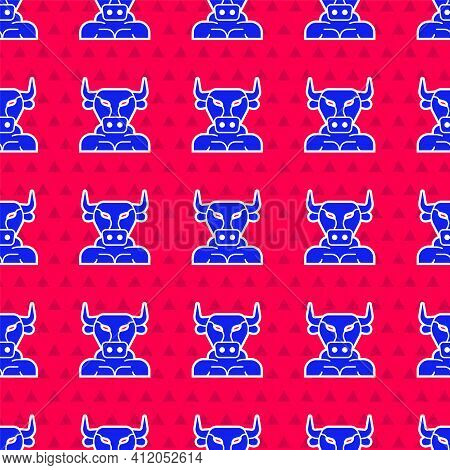 Blue Minotaur Icon Isolated Seamless Pattern On Red Background. Mythical Greek Powerful Creature The