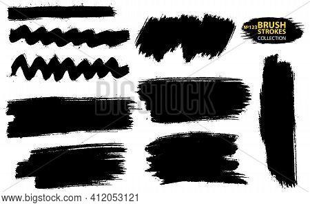Set Of Vector Brush Strokes. Set Of Black Paint, Ink, Grunge, Dirty Brush Strokes. Dirty Artistic De