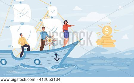 Vector Cartoon Flat Characters Sail On Ship Looking Into Distance On Gold Coins - New Beginnings, Op