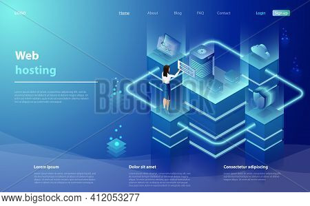 Web Hosting, Development Concept With Character. Cloud Computing Online Database Technology Security
