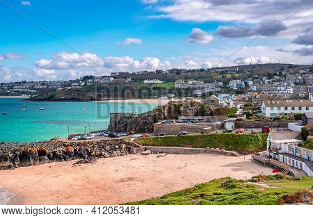 View Of St Ives, A Seaside Town And Port In Cornwall, England. Once A Fishing Village, It Is Now Pri