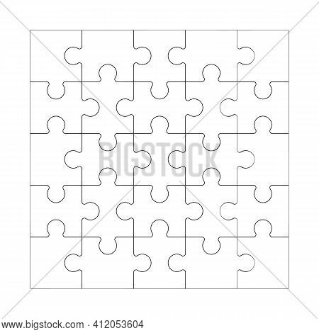 Square Maze Grid Template Jigsaw Puzzle 25 Pieces Thinking Game And 5x5 Jigsaws Detail Frame Design