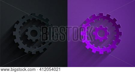 Paper Cut Bicycle Cassette Mountain Bike Icon Isolated On Black On Purple Background. Rear Bicycle S