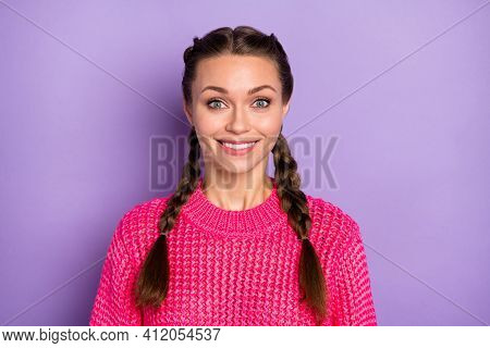 Photo Of Charming Happy Nice Young Woman Good Mood Cheerful Smile Isolated On Purple Color Backgroun