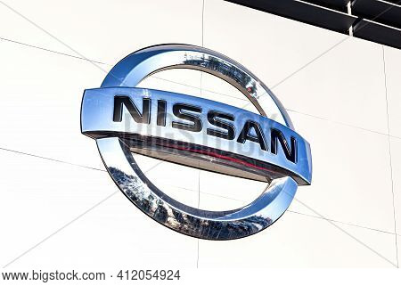 Samara, Russia - March 13, 2016: Official Dealership Sign Of Nissan On The Wall Of The Office Buildi