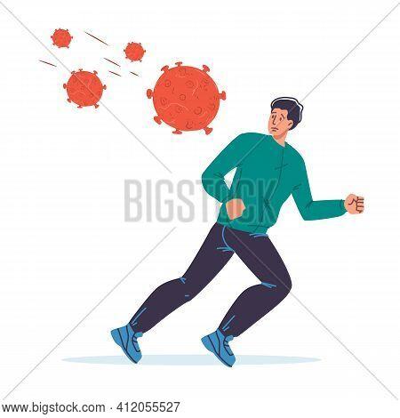 Cartoon Flat Male Character In Fear Of Coronavirus Covid-19.afraid Man In Panic, Scary Of Viral Resp