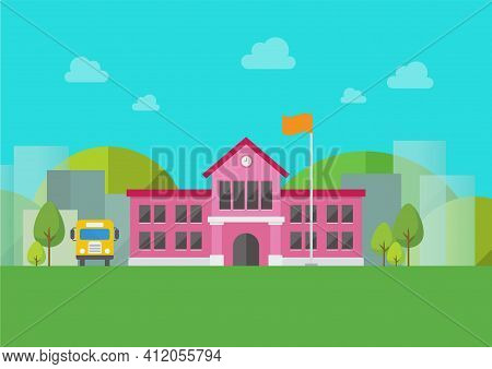 School Building With Urban Landscape In Background. Vector Illustration
