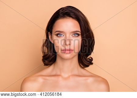 Close Up Photo Beautiful Amazing She Her Lady Blue Eyes Healthy Brown Curls Ideal Brilliant Appearan