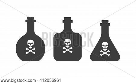 Bottle Poison Alcohol Skull In Full Face For Concept Design. Three Kinds Dangerous Container. Potion